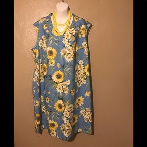 Sharagano blue flowered dress size 20W, polyester
